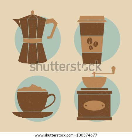 A set of four icons with coffee related items.