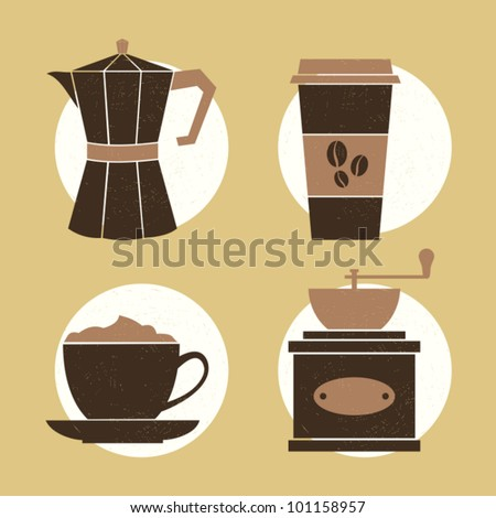 A set of four icons with coffee related items. - stock vector