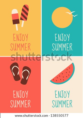 a set of four minimalist summer