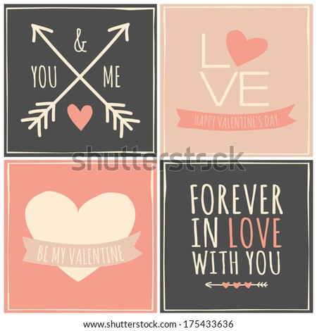a set of four retro greeting cards for valentine's day. stock, Greeting card