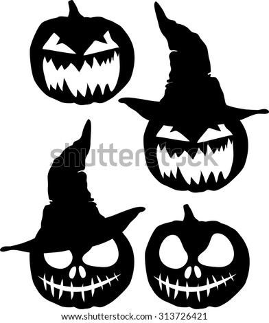 a set of four silhouettes evil