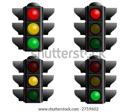 A set of four stop lights for your vector designs. A caution light, red light, green light and yellow light