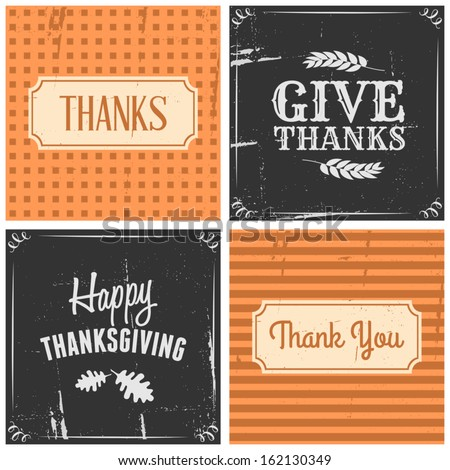 A set of four typographic design cards for Thanksgiving Day