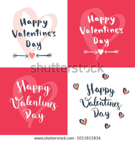 A set of four Valentine's Day designs. Romantic greeting card, invitation, poster design templates.