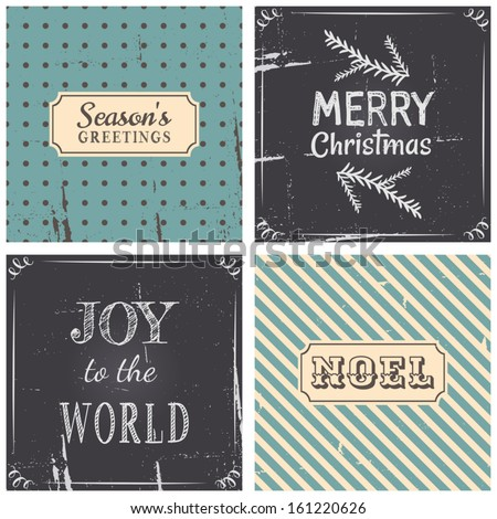 A set of four vintage style greeting cards for Christmas