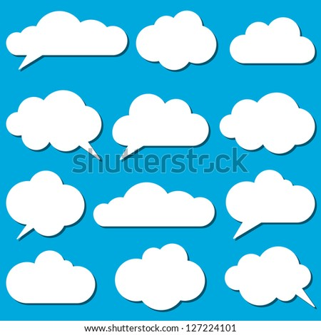 A set of  frames in the form of clouds. Vector illustration.