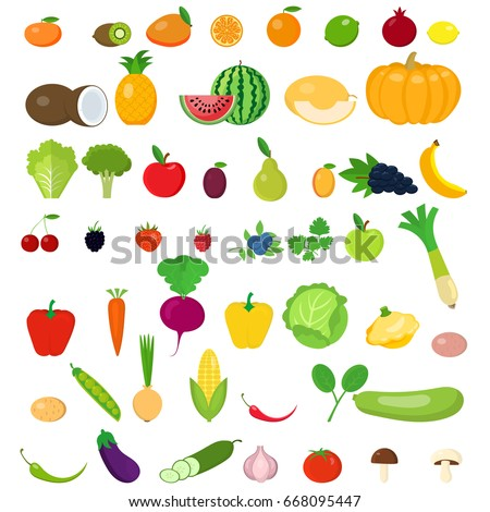 A set of fruits and vegetables.