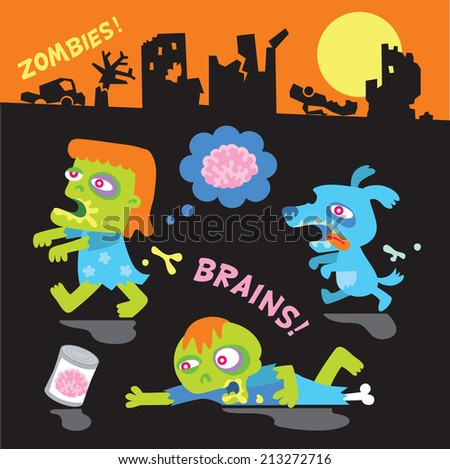 a set of funny zombie