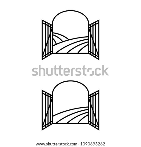 A set of gate icons