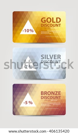 A set of gift and discount cards with gold, silver and bronze geometric triangle background.