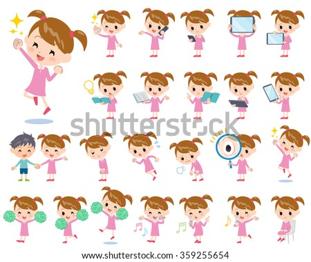 a set of girl with digital