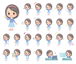 A set of girl with who express various emotions.There are actions related to workplaces and personal computers.