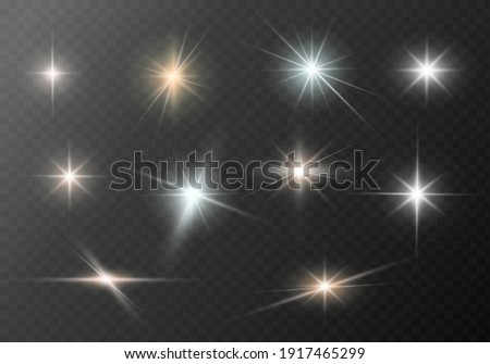 A set of glare. Flashes of light rays. Glow, radiance, glitter effect. A collection of different glowing sparks, stars. Vector illustration on a transparent background.