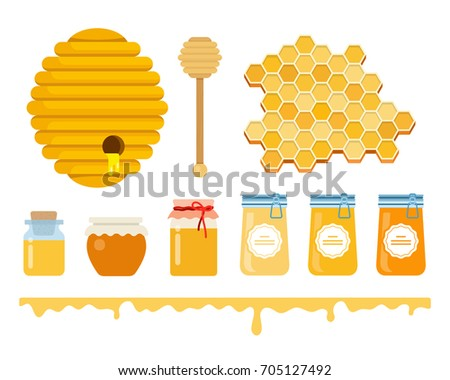 A set of glass jars with honey, a honey hive, a honey wooden scoop, honeycomb and a layer with streaks vector flat material design isolated on white. Attributes for honey production.