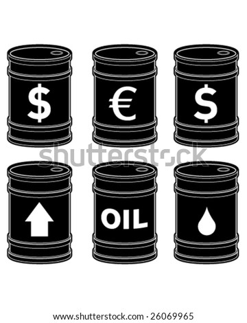 A set of glossy black vector oil barrels with currency symbols on them.