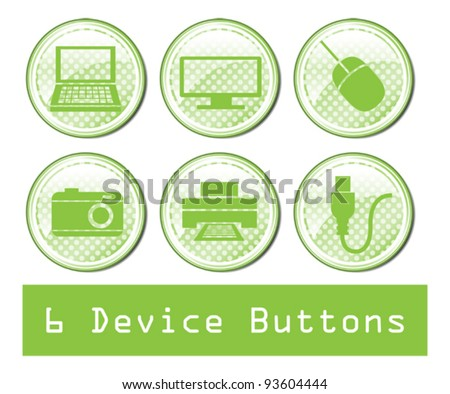 A set of 6 glossy device buttons.