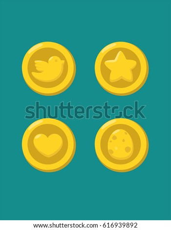 a set of gold coins with the