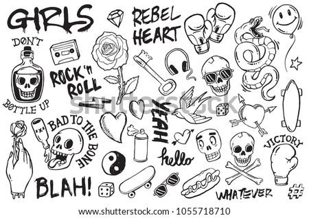 a set of graffiti doodles