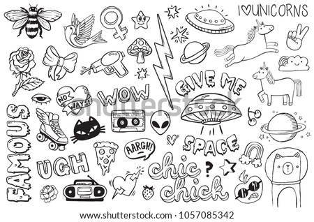 A set of graffiti doodles suitable for decoration, bagdes, stickers or embroidery. Vector illustrations.