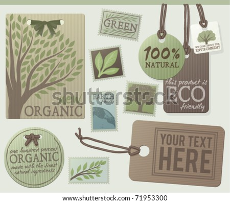 A set of green themed labels and tags. Customize with your own text. EPS 10