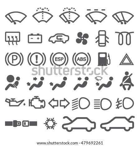 A Set of grey and white silhouette icons for car dash