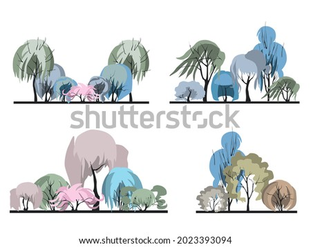 A set of groups of plants with an unusual crown in the form of a female hairstyle. Architectonics of woody plants. Landscape architecture in colors 2021