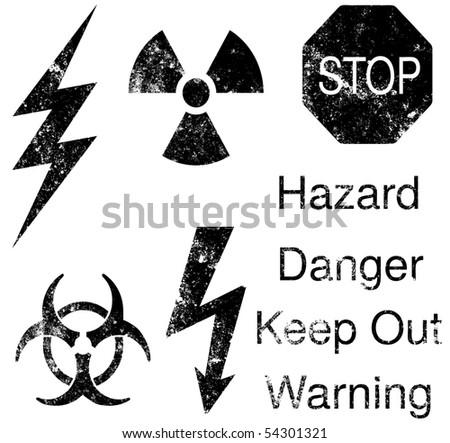 A set of grunge hazard and danger vectors