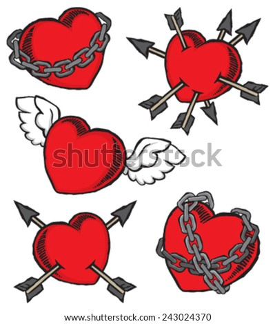 a set of grunge hearts
