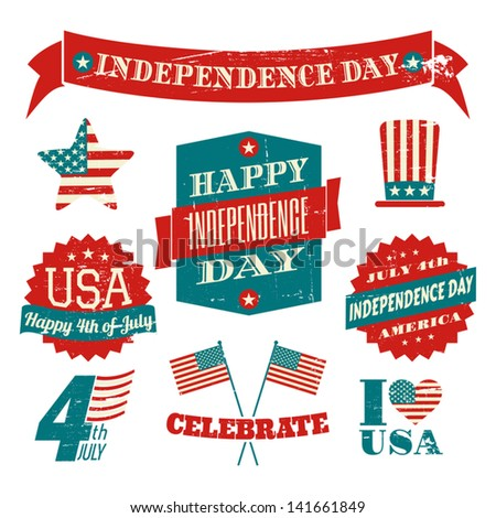 A set of grungy US Independence Day design elements isolated on white background.