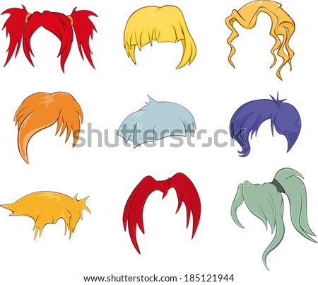 a set of hairstyles  wigs for