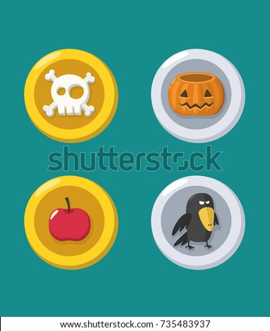 Stock Photo A set of Halloween coins with: skull; pumpkin; apple; crow.