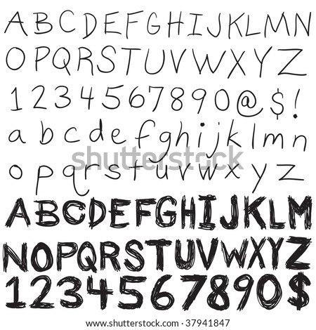 A set of hand written letters and numbers.  The complete alphabet doodled in both upper and lower case in an easily editable vector format.