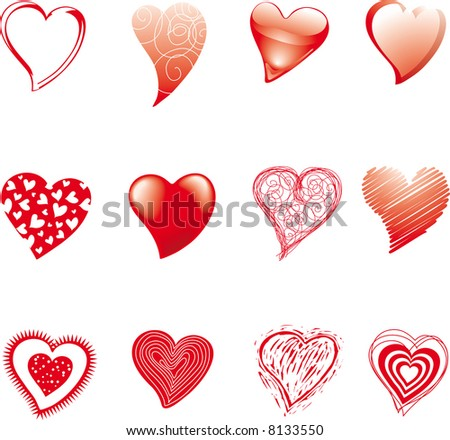 a set of hearts drawned in various styles and techniques