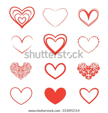 A set of hearts on a white background. Vector illustration.