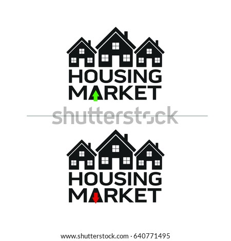 A set of housing icons that show the housing market with red and green arrows in vector format.