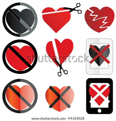 A Set Of Icons Conceptualizing A No Love Or Anti ...
