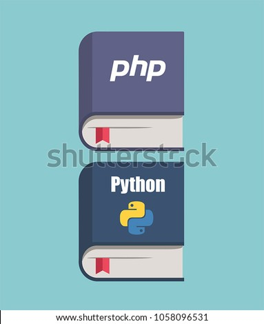 A set of icons of books on programming in the languages ??of PHP and Python. Book of PHP purple color; Book Python blue color.