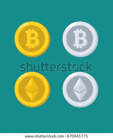 A set of icons of gold and silver coins with images of electronic currencies. Coin with Ethereum sign and coin with Bitcoin symbol.