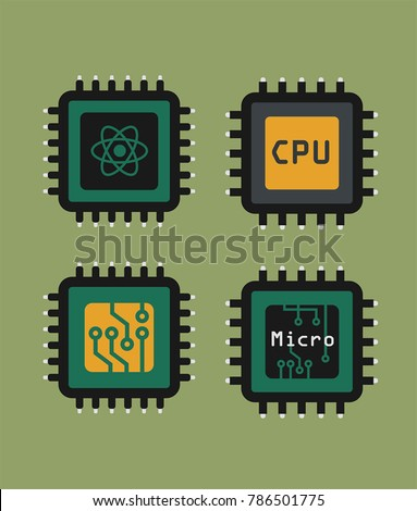 A set of icons of micro-chips and processors. Quantum processor, micro-processor, processor with board; electronic CPU.