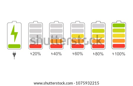 A set of icons of the information state of the battery. A set of indicators of the level of charge of the battery. Information icons for charging the phone's battery. Vector illustration.