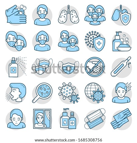A set of icons related to the prevention of viral diseases. A collection of simple medical icons. Protection from coronavirus. Flat line style infographics. Stopping the corona virus