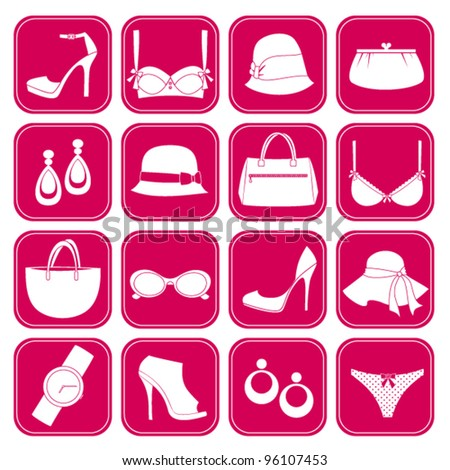 A set of 16 icons with elegant female fashion accessories. Raster version also available.