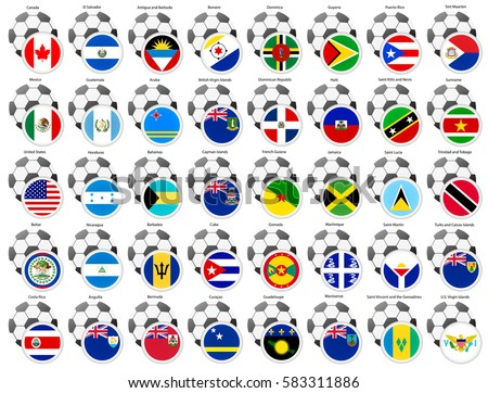 A set of icons with flags of the North and Central America countries. Football theme.