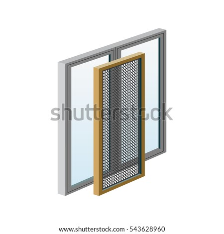 A set of illustrations - vector icons windows. Element 3 mosquito nets for windows.