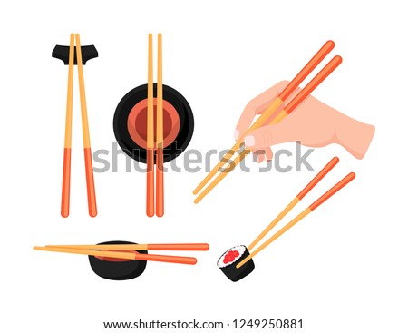 A set of images showing how to use chopsticks. Hand holds bamboo sticks. Asian cuisine. Flat cartoon vector illustration isolated.
