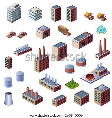 A set of industrial buildings on a white background