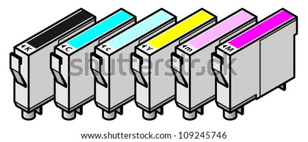 A set of inkjet printer cartridges - individual tanks of cyan, yellow, magenta and black - for 6-colour high-fidelity CcMmYK printing.