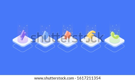 A set of isometric gradient utility deals icon illustration, utilities bundle, including electricity power, water, gas, wifi/ cable, telephone bill, 2.5D