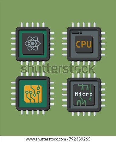 A set of isometric  icons of micro-chips and processors. Quantum processor, micro-processor, processor with board; electronic CPU.