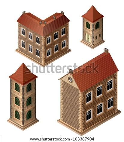 A set of isometric medieval buildings on a white background